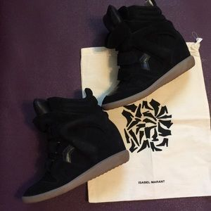 """Isabel Marant """"Bekett"""" Black Suede Wedge Sneaker"""